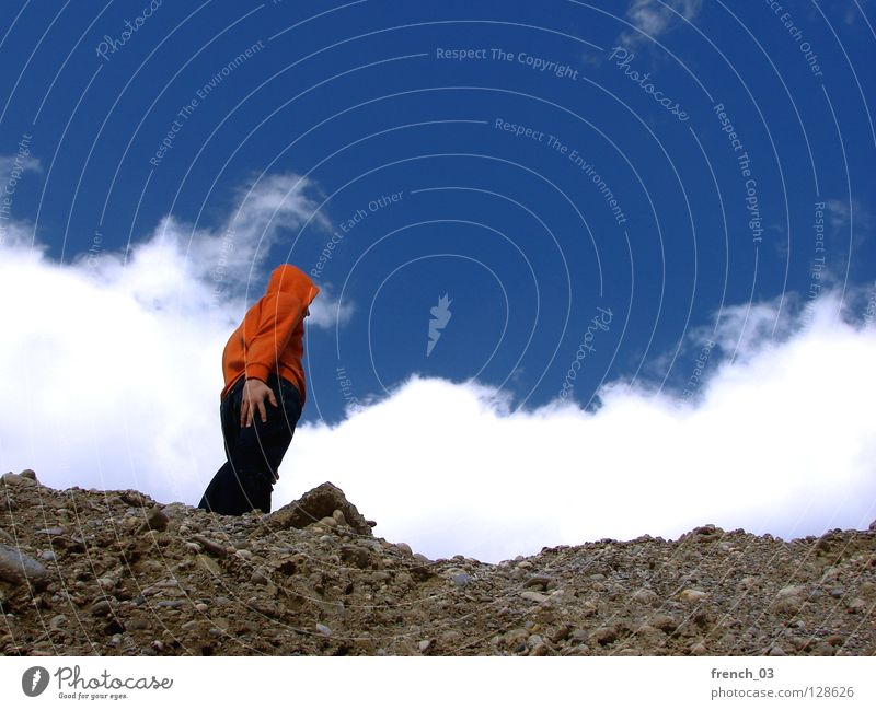 Human being Sky Blue Hand White Clouds Colour Dark Mountain Freedom Gray Stone Think Lake Line Orange