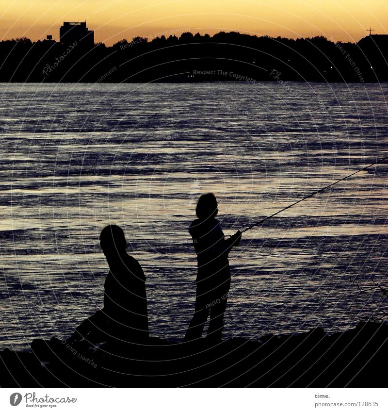 deceleration Sunset Wet Angler Fishing rod Relaxation To enjoy Waves Current Leisure and hobbies Man Masculine Extreme sports River Brook Beautiful Dusk Evening
