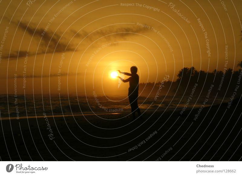 Human being Child Vacation & Travel White Sun Ocean Beach Clouds Dark Coast Sand Bright Horizon Moody Waves Arm