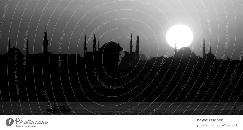 Sultanahmet Sunset Istanbul Hagia Sophia House of worship Historic Landmark Monument Blue Mosque sultanahmet turkey Black & white photo Marmara bosphorus