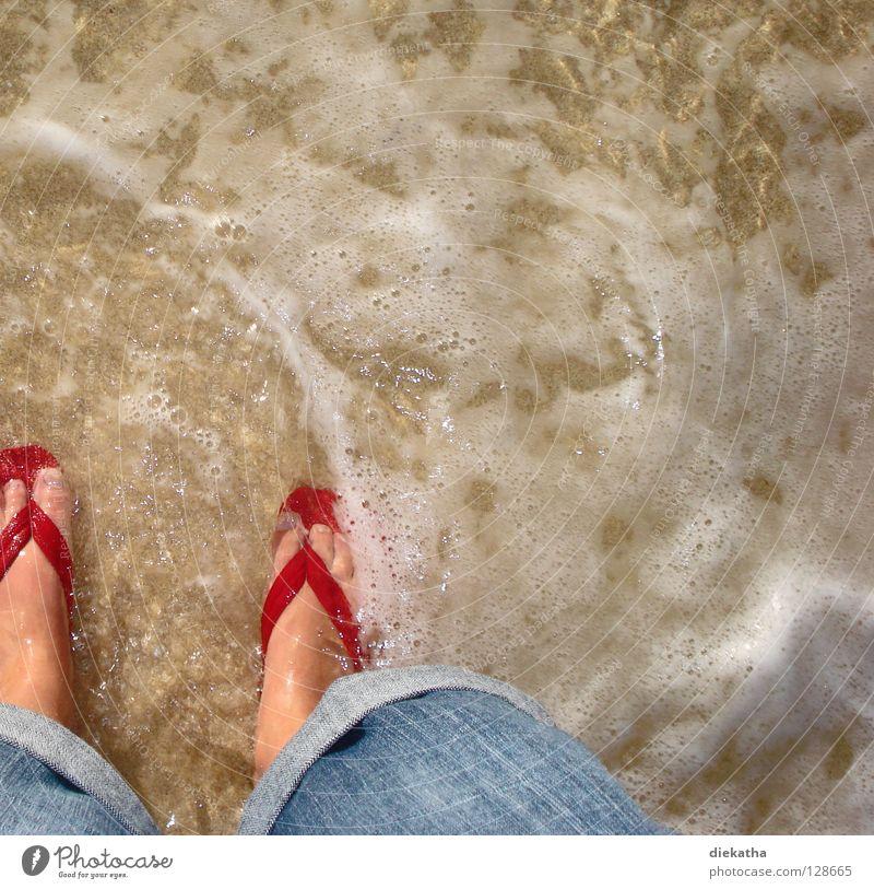 pedal pool Flip-flops Red Ocean Waves Foam Beach Physics Summer Toes Wet Water Jeans Feet Legs Sand Warmth