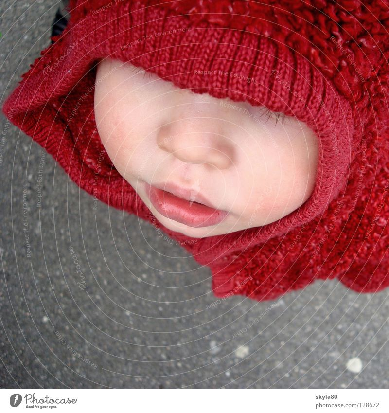 Child Girl Red Winter Face Cold Mouth Nose Weather Concrete Sweet Asphalt Jacket Hide Toddler Fairy tale