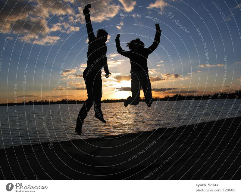 Jump! Lake Sunset Hop Clouds Joy Water Sky Human being Dusk