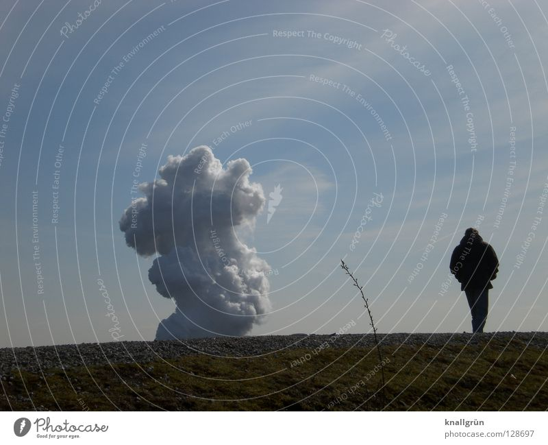Man Sky White Green Blue Plant Clouds Loneliness Meadow Grass Mountain Stone Going Industrial Photography Smoke Stalk
