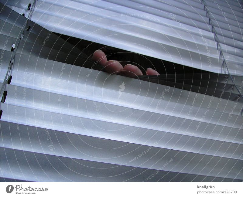 Hand Metal Fingers Mysterious Hide Tilt Silver Backwards Aluminium Disk Venetian blinds