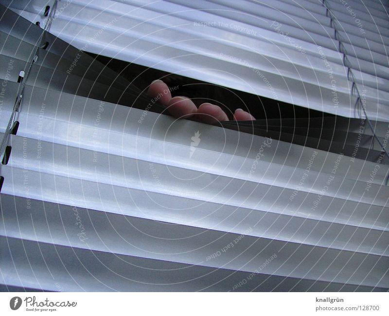 Hand Metal Fingers Mysterious Hide Tilt Silver Backwards Aluminium Disk Venetian blinds