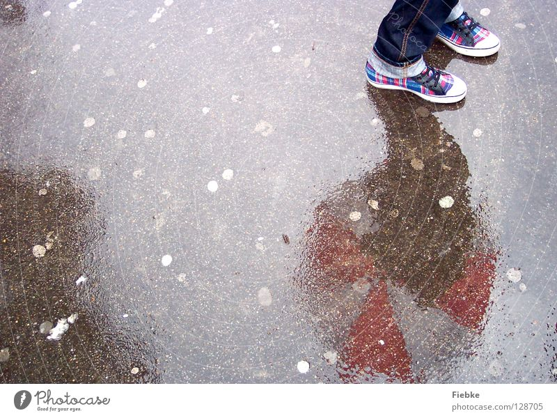 waiting for spring Footwear Checkered Umbrella White Red Striped Mirror Wet Gray Reflection Hazy Mirror image Chewing gum Disgust Tread Chucks Cold Longing