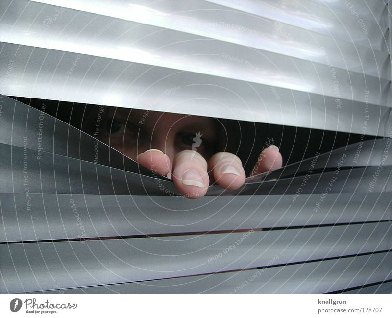 covert Venetian blinds Aluminium Hand Fingers Fingernail Woman Backwards Forwards Dark Disk Silver Metal Face Eyes Looking peep through Bright