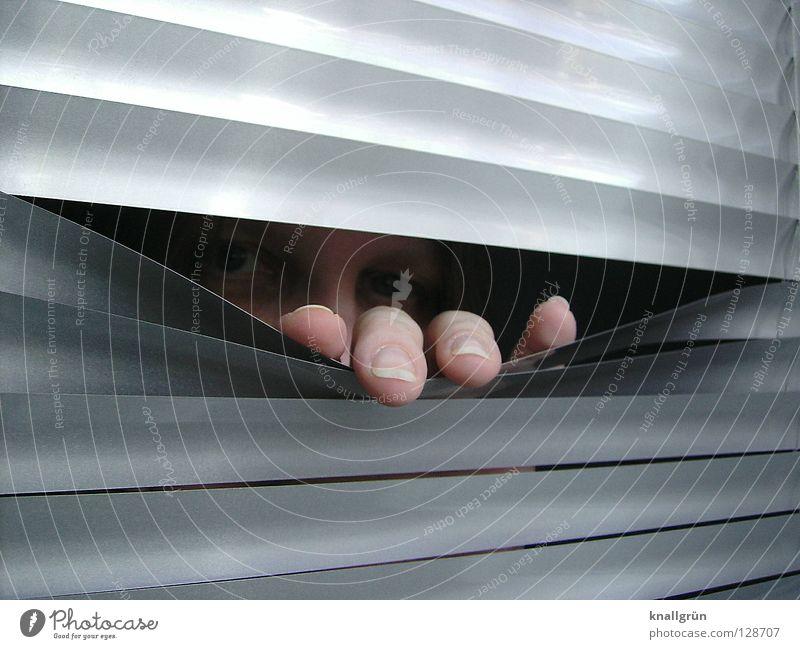 Woman Hand Face Eyes Dark Bright Metal Fingers Forwards Silver Fingernail Backwards Aluminium Venetian blinds Disk