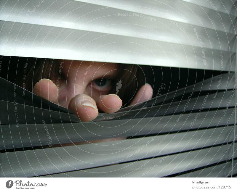 Woman Hand Face Eyes Dark Hair and hairstyles Bright Metal Fingers Mysterious Silver Fingernail Aluminium Venetian blinds Disk