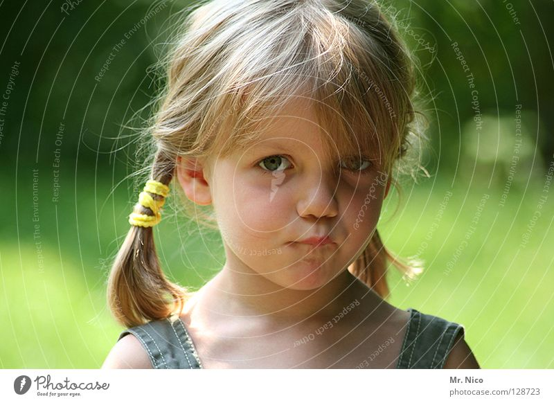 Child Girl Beautiful Green Face Emotions Hair and hairstyles Mouth Blonde Broken Anger Cute Facial expression Long-haired Bangs Innocent
