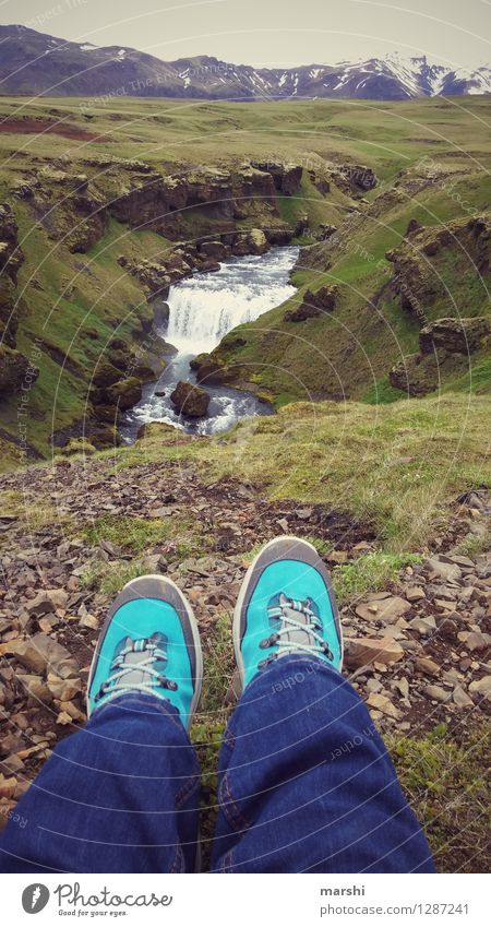 enjoy the view Human being Feet 1 Nature Landscape Hill Mountain Glacier Volcano River Waterfall Emotions Moody Joy Iceland Travel photography Break