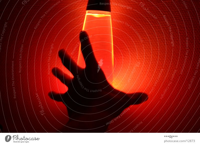 Hand in the Light II Lamp Lava Fingers Red Door handle Leisure and hobbies Human being Arm