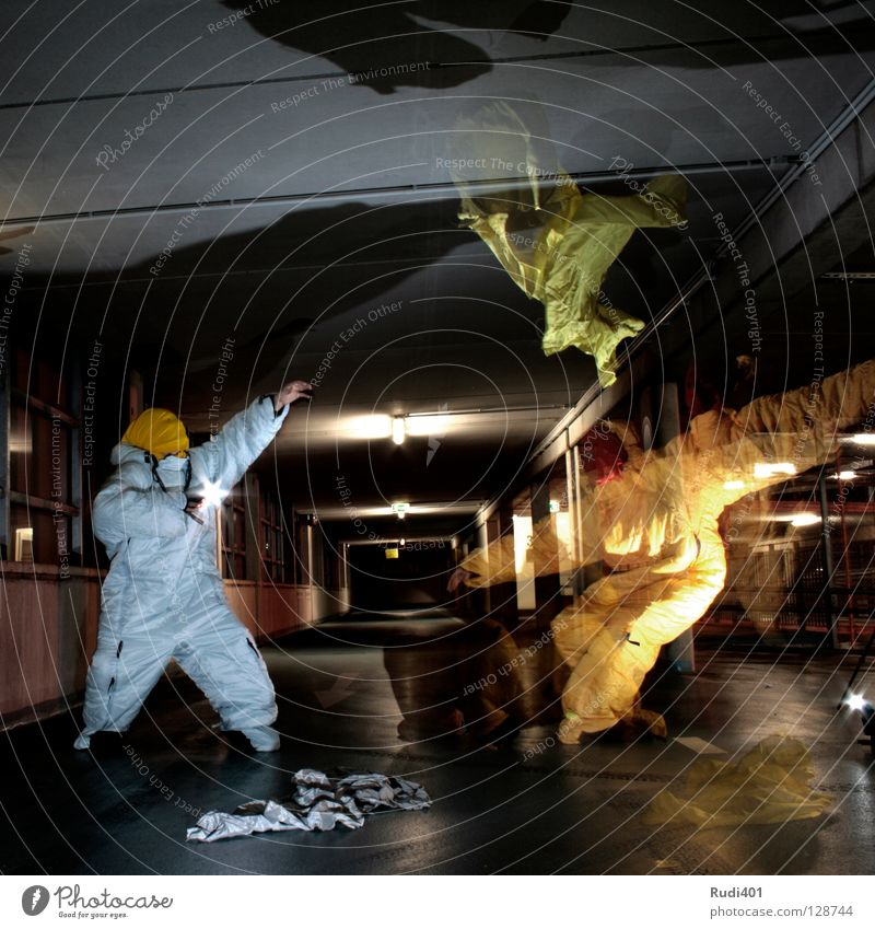 slipping into the picture Gray Yellow Shift work Long exposure Parking garage Night Flash photo Art Culture Calm Movement Shadow