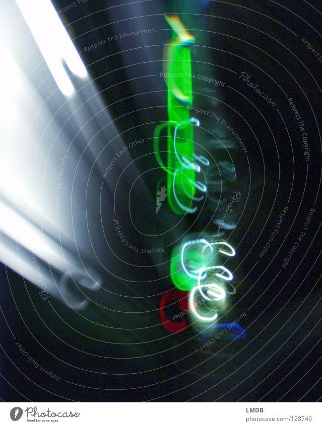 green Chaos Light Stripe Spiral Night Neon light Advertising Tracer path Long exposure Evening Dark Multicoloured Yellow Violet Red Black Night shot Rotate