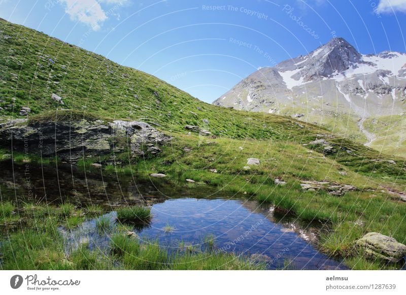 Mountain Pond Life Calm Vacation & Travel Tourism Freedom Summer Hiking Nature Landscape Sky Clouds Horizon Beautiful weather Grass Hill Rock Alps Peak