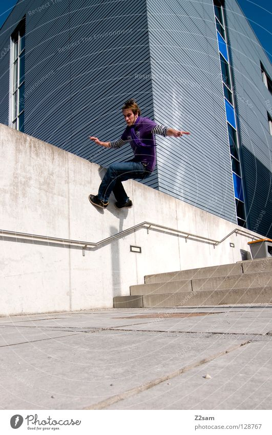 wallride Going Wall (building) Violet Contentment Speed Light Gravity Man Masculine Style Easygoing Wall (barrier) Wallride Human being Walking Jeans Stairs