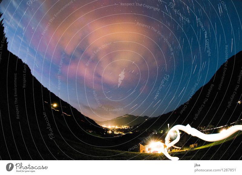 Reason b. Gstaad Calm Summer Landscape Elements Clouds Night sky Stars Beautiful weather Mountain Switzerland Illuminate Dark Contrast Fisheye light pollution