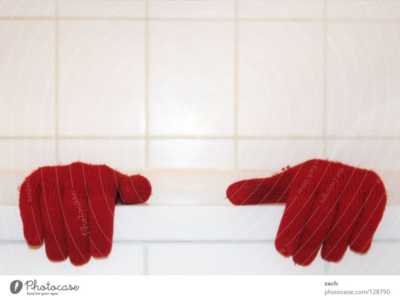 red handle Hand Gloves Winter Bathroom Bathtub Red White Flow Fingers Thumb Clothing Snow Contrast bath Toilet Swimming & Bathing Shower (Installation)