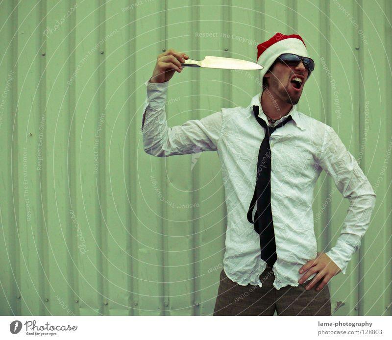 Man Christmas & Advent Joy Think Crazy Cool (slang) Teeth Santa Claus Eyeglasses Shirt Hat Cap Trashy Suit Sunglasses Easygoing