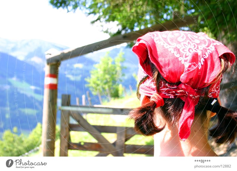 Barrier open you! Control barrier Grass Woman Headscarf Red Green Wood Tree Hiking Braids Mountain Road marking Hair and hairstyles
