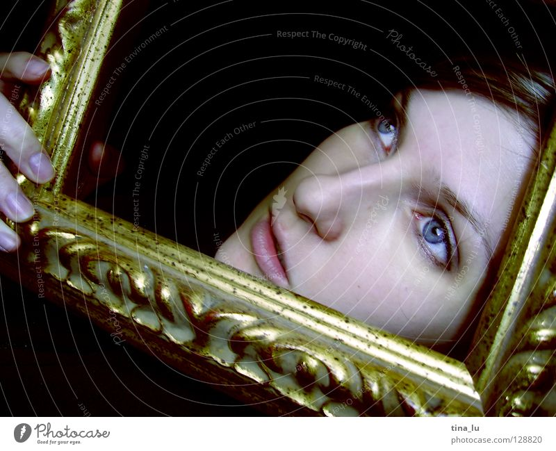 ... Hand Black Fingers Vista Ornament Fairy tale Mirror Vantage point Emotions Face Frame Gold Looking blue eyes gold frame be out of the ordinary framed