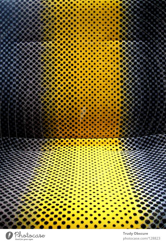 Black Yellow Gray Transport Railroad Places Chair Cloth Boredom Seating Seventies Motive Tram Original Public transit Commuter trains