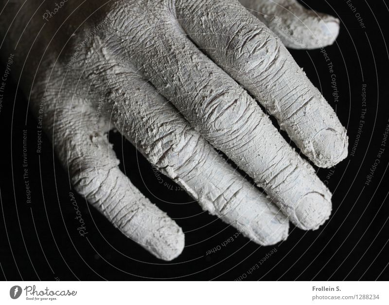 touch Skin Hand Fingers Wrinkle Fingernail Clay Touch Esthetic Dry Breakage Crack & Rip & Tear Black & white photo Interior shot Close-up Contrast
