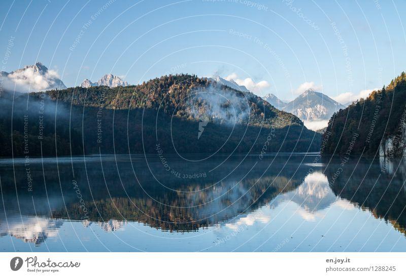 Sky Nature Vacation & Travel Blue Summer Landscape Calm Forest Mountain Autumn Lake Rock Dream Contentment Fog Trip