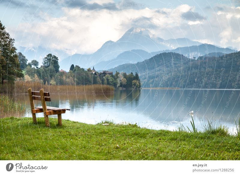 rest Vacation & Travel Tourism Trip Summer vacation Mountain Hiking Nature Landscape Sky Clouds Autumn Climate Weather Grass Forest Alps Allgäu Alps Peak