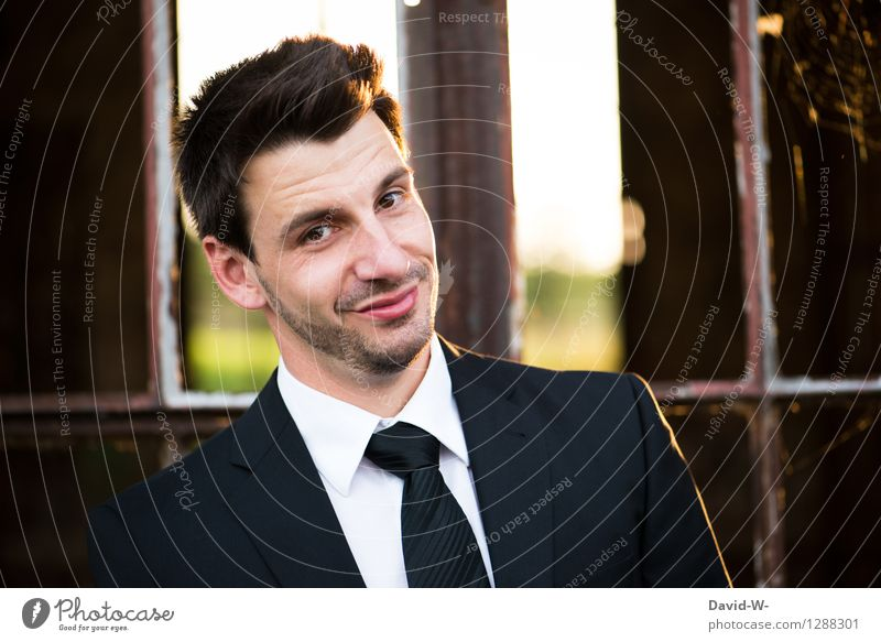 Man with a suit tie and a smile on his face Suit Smiling kind Congenial portrait Face Positive Friendliness Businessman