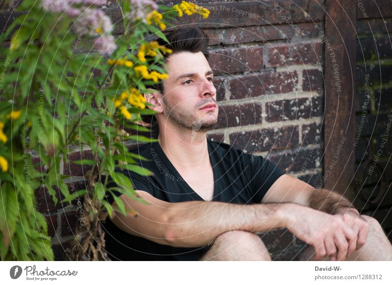 SittingBleiber Human being Masculine Young man Youth (Young adults) Man Adults Partner Life 18 - 30 years Dream Far-off places Over there Crouch Crouching