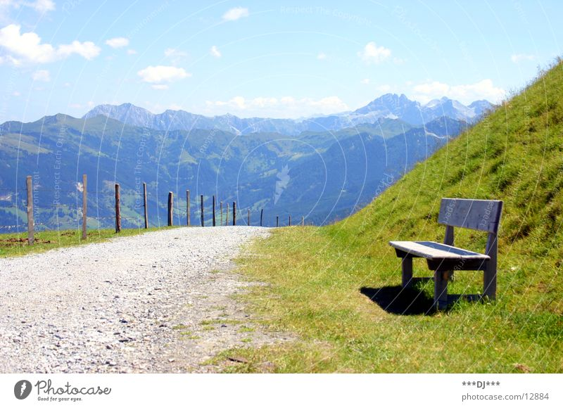 And take a quick break...! Austria Hiking Vacation & Travel To enjoy Ascending Air Fence Grass Break Europe Mountain Lanes & trails Sky holiday Bench Sit Wait