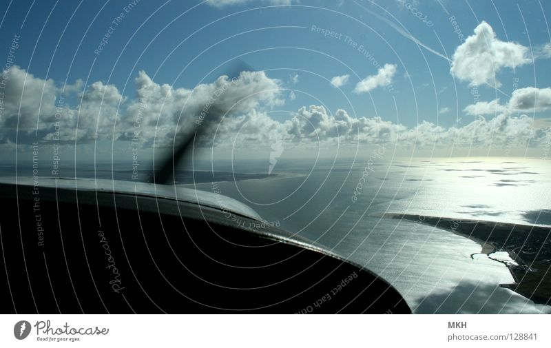 Water Sky Ocean Blue Beach Black Clouds Freedom Lake Sand Waves Coast Glittering Airplane Flying Horizon