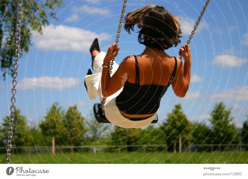 Woman Sky Tree Summer Clouds Grass Movement Freedom Chain Swing