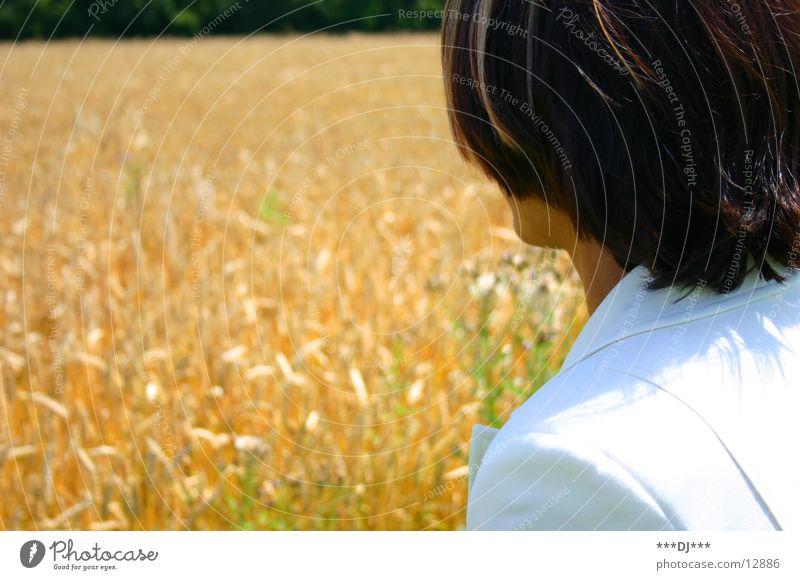 Woman Field Search Harvest Wheat Ear of corn Pantsuit