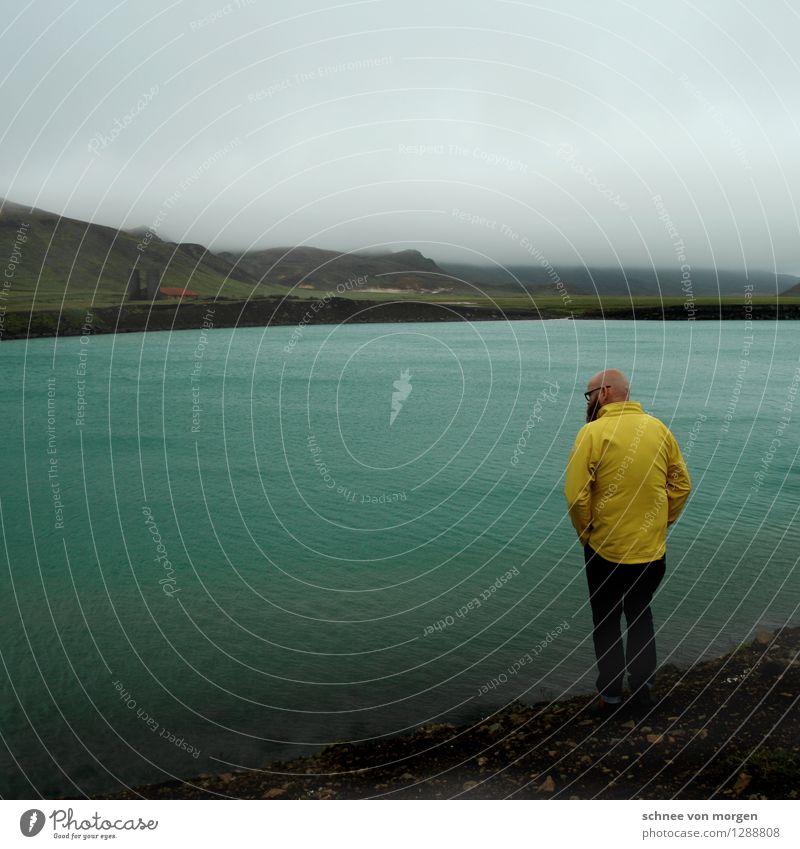 Human being Nature Vacation & Travel Water Landscape Calm Dark Adults Environment Yellow Autumn Head Masculine Rain Air Fog