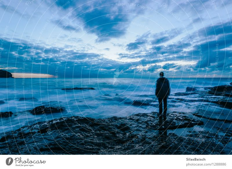 Loneliness Human being Nature Youth (Young adults) Summer Water Ocean Young man Landscape Clouds 18 - 30 years Adults Environment Spring Autumn Coast
