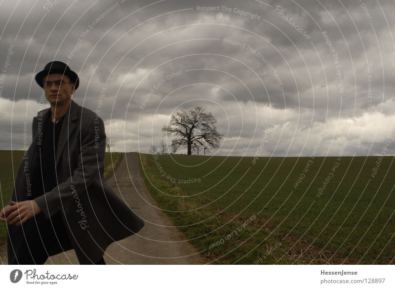 Man Tree Clouds Lanes & trails Moody Going Field Hiking Walking Transience Hope Target Trust Hat Coat
