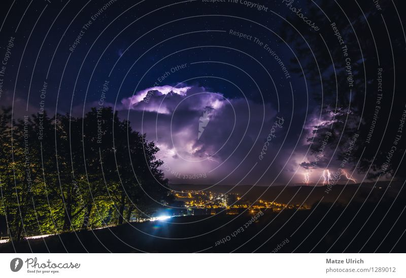 Thunderstorm over the city Environment Clouds Storm clouds Night sky Stars Horizon Weather Bad weather Thunder and lightning Lightning Tree Hill Village