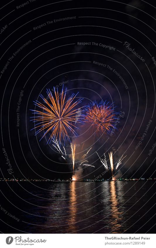 Fireworks 1 Art Stage play Blue Multicoloured Gray Orange Red Black White Bang Loud Dye Spectacle Firm Feasts & Celebrations Lake Reflection Flower
