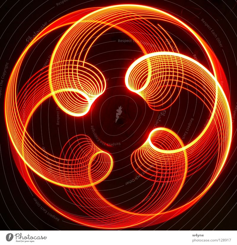[Order To Chaos] Series II Long exposure Red Yellow Spiral Abstract Round Waves Pattern Black Electrical equipment Technology Concentrate luminography Circle