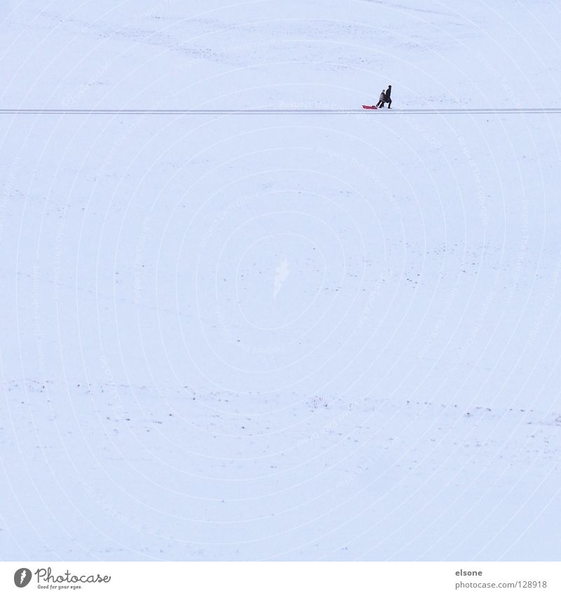 ::MISSION:: Sledding Sleigh Winter Hiking Loneliness Minimal Leisure and hobbies Winter sports Snow Mountain Walking Human being Copy Space Line Footpath