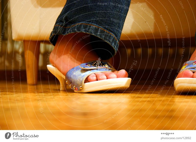 Woman Feet Footwear Legs Jeans Floor covering Pants Toes Armchair Landing Shuffle Cork