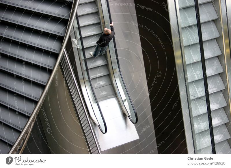Concrete Jungle Escalator Going Comfortable Footstep Winding staircase Man Masculine Gray Brown White Black To hold on Cold Iron Decide Shopping arcade Arcade