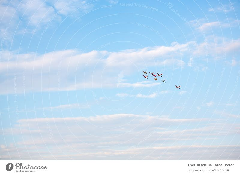 air show Means of transport Aviation Airplane Biplane Blue Gray Violet Pink Silver White Air show Far-off places Infinity Clouds Sky Horizon happy ending Moody