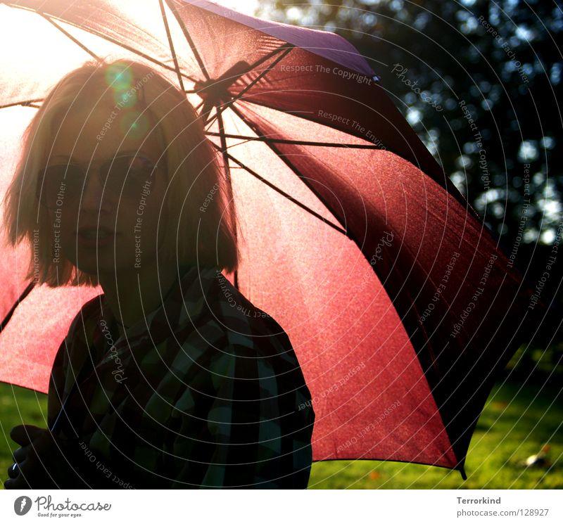 Show me one. Woman Blonde Red Park Holder Feminine Masculine Sun Summer Sunbeam Barbie Sunglasses Green Grass Grass green Shirt Summery Physics Delicate Black