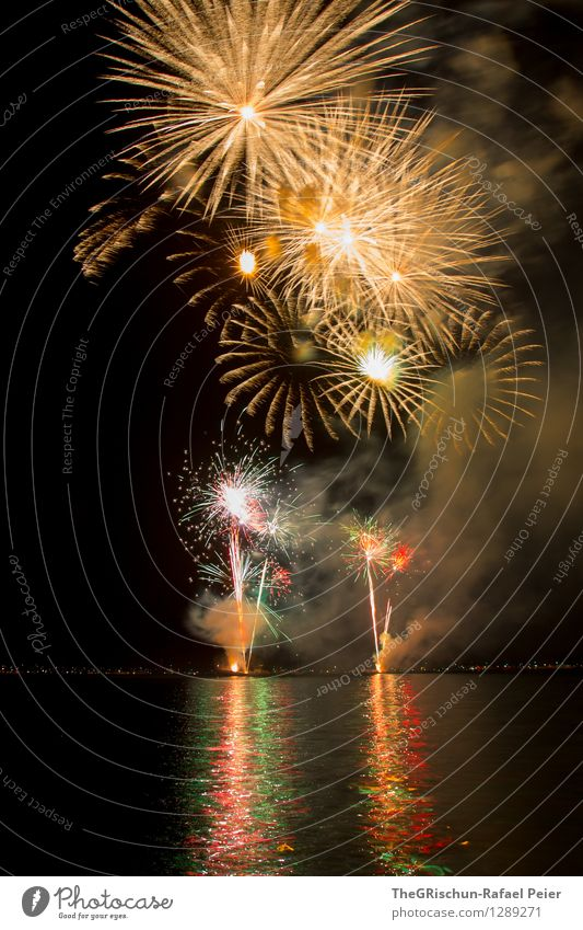 Fireworks 7 Artist Stage play Multicoloured Yellow Gold Pink Red Black Structures and shapes Explosion Rocket Pattern Long exposure Smoke Light Firecracker