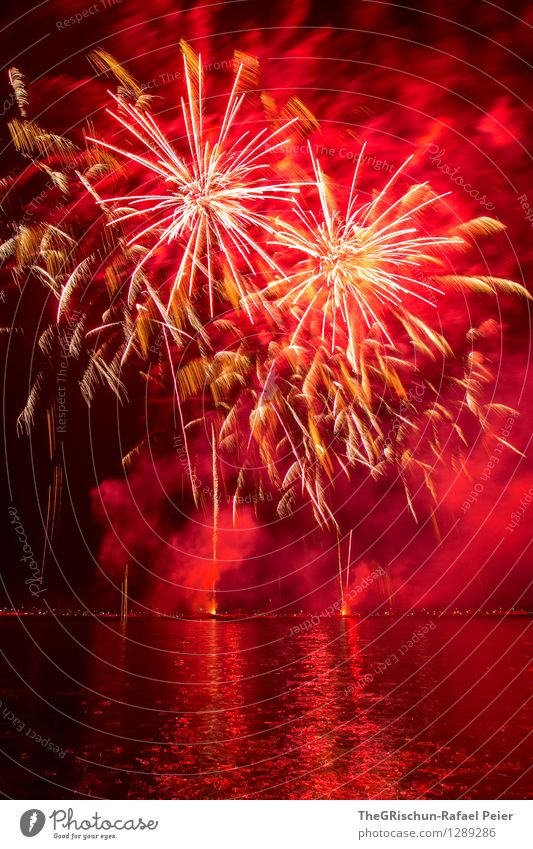 fireworks Art Work of art Stage play Pink Red Black White Fire Firecracker Burn Bright Illuminating Spectacle Reflection Lake Switzerland Feasts & Celebrations