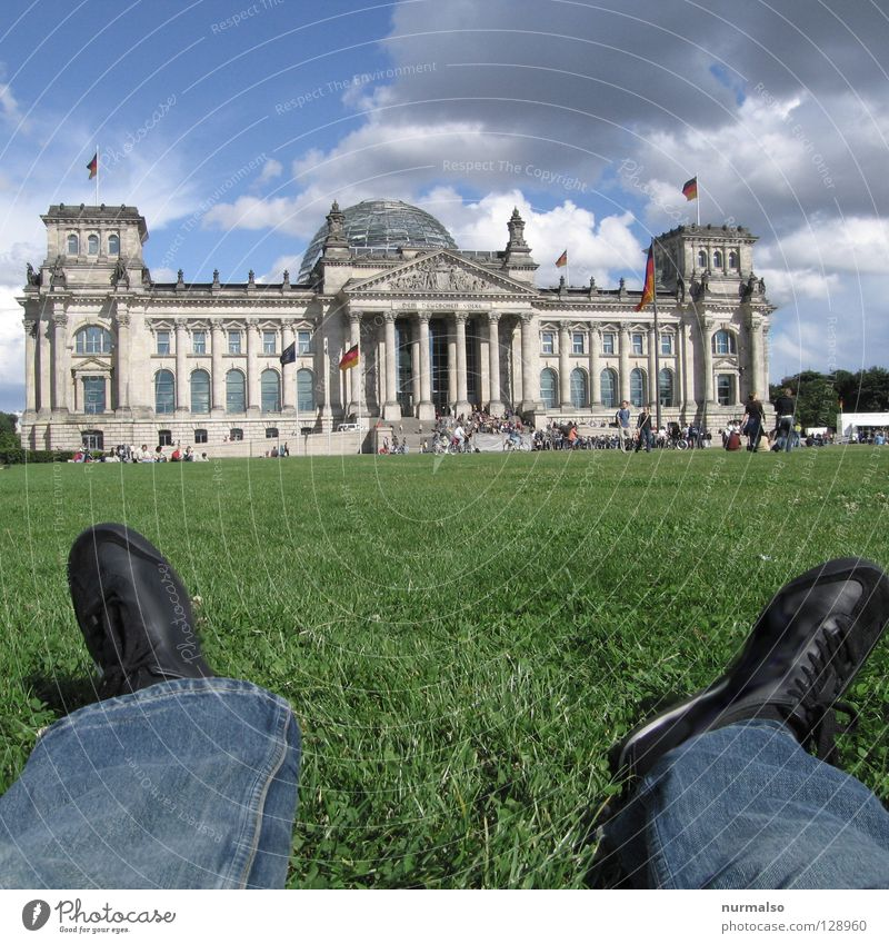 Sky Old Green Red Summer Clouds Black Relaxation Meadow Berlin Emotions Architecture Wall (barrier) Park Germany Glass